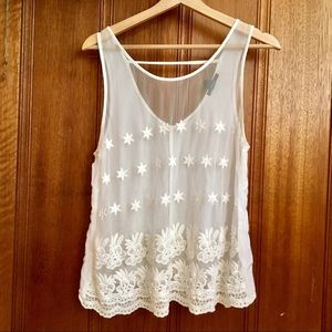 Forever 21 Sheer Front Embroidered Tank